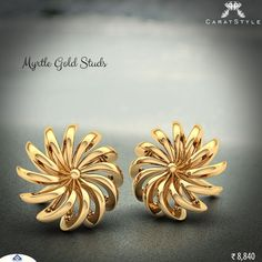 Gold Jewelry For Brides Jewelry Design Earrings, Gold Earrings Designs, Gold Jewellery Design, Designer Earrings, Gold Jewelry, Gold Studs, Beautiful Earrings, Or Rose, Indian Jewelry