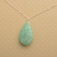 green pendant necklace amazonite gemstone necklace summer by izuly, $59.00
