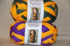 Set of 2 skeins - perfect for the Mardi Gras ruffle scarves!  Red Heart Boutique SASHAY Team Spirit Yarn 3.5 oz each Mardi Gras set    pmscrafts - Craft Supplies on ArtFire