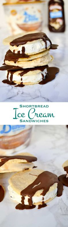 Shortbread Ice Cream Sandwiches: Rich, creamy ice cream sandwiched between two soft, wafer thin shortbread cookies and drizzled with chocolate sauce. The perfect way to beat the summer heat. ‪#‎SoHoppinGood‬ ‪#‎TopYourSummer‬ ‪#‎ad‬ @Walmart /blue_bunny/