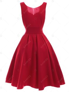 Sweetheart Neck Pleated Red Dress