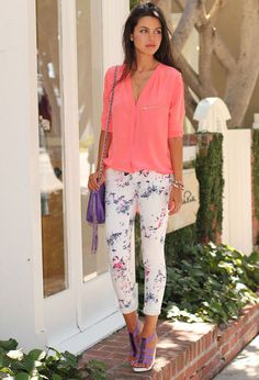 don't feel like you have to wear neutrals with your floral bottoms. go for a bright button-down top and shoes