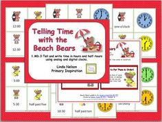 72 matching cards for telling time to the hour and half hour      $