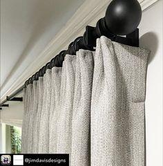 Contemporary Window Treatments, Contemporary Windows, Custom Window Treatments, Metal Curtain Pole, Curtain Poles, Curtain Headings, Made To Measure Curtains, Drapery Hardware, Custom Curtains