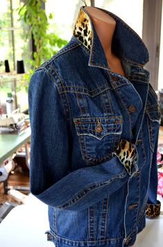 Women's Upcycled Embellished Jean Jacket Leopard Print by hisOpal, $75.00