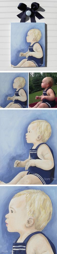 Kids Hand Painted Portrait Custom Wall Art  Hand Painted Gallery Wrapped Canvas    These original paintings are created especially for you to preserve the memories of your little ones in a whimsical abstract rendition. They're vibrant and will coordinate with the rooms decor as the child grows. Your gallery painting comes with coordinating solid colored ribbon and solid colored nail cover. Simply yummy!