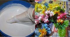 Купила искусственные цветы и развела порошок до консистенции сметаны, чтобы создать нечто восхитительное.
