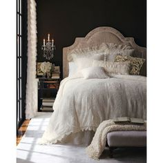 Romantic Bedroom with Black Feature Wall. I love black and am keen to try it in the master bedroom. This looks amazing! Dream Bedroom, Home Bedroom, Master Bedroom, Bedroom Ideas, Headboard Ideas, Pretty Bedroom, Master Suite, Master Master, Vintage Bedrooms