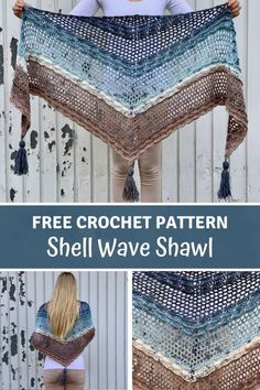 Simple Crochet Shawl for beginners - Shell Wave Shawl by Wilmade - - Learn how to make a simple crochet shawl for beginners with my free pattern. This shawl is made with Lion Brand Mandala Baby and features beautiful waves. Crochet Shawls And Wraps, Crochet Scarves, Crochet Clothes, Crochet Cowls, Shawl Patterns, Knitting Patterns, Easy Crochet, Free Crochet, Crochet Triangle