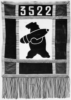 Image of Wojtek the Soldier Bear on his Unit's pennant. Pennants such as this were attached to the music stands of the Unit's musicians in performances towards the end of the war (? Wojtek Bear, Bear Statue, Lightning Strikes, Bear Cubs, Retro, World War Ii, Wwii, Badge, Photos
