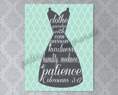 Printable Laundry Room Wall Sign, Scripture Typography Art, Colossians 3