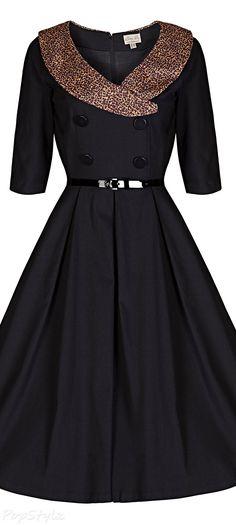 'Winnie' Vintage 40's/50's Collared Swing Dress