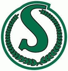 """Saskatchewan Roughriders: To me, this will always be the Riders """"real"""" emblem. Their colors should just be green and white. The new emblem and added black and silver is 1990s blah!"""