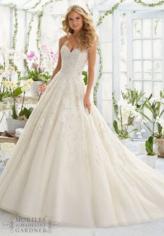 Mori Lee 2808 Strapless Lace Ball Gown Wedding Dress