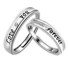 """""""Love You Forever"""" Couple Promise Rings (Pair)"""