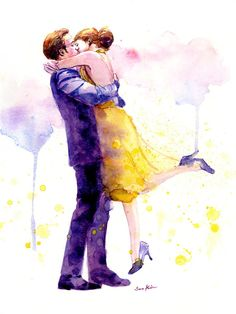 Romantic Couple Watercolor Painting Print  Kissing Couple