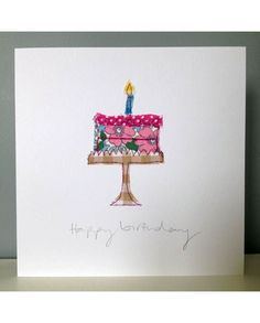 Fabric Postcards, Fabric Cards, Paper Cards, Diy Cards, Handmade Birthday Cards, Greeting Cards Handmade, Card Birthday, Birthday Images, Birthday Quotes