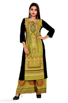 Kurta Sets Women Rayon A-line Printed Long Kurti With Palazzos Fabric: Kurti - Rayon  Palazzo - Rayon  Sleeves: Sleeves Are Included Size: Kurti - S - 38 in M - 40 in L - 42 in XL - 44 in XXL - 46 in Palazzo - S - 28 in M - 30 in L - 32 in XL - 34 in XXL - 36 in Length: Kurti - Up To 46 in Palazzo - Up To 39 in Type: Stitched  Description: It Has 1 Piece Of Women's Kurti With 1 Piece Of Women's Palazzo Work: Kurti - Printed  Palazzo - Printed Country of Origin: India Sizes Available: S, M, L, XL, XXL, XXXL   Catalog Rating: ★4.1 (358)  Catalog Name: Women Rayon Jacket Kurta Printed Short Kurti With Palazzos CatalogID_291791 C74-SC1003 Code: 158-2196269-5232