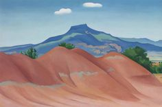 Georgia O'Keeffe Red Hills with Pedernal, White Clouds 1936