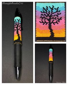 This is a Beautiful Beaded Peyote Rainbow Tree Silhouette Pen Wrap. The dimensions for this Pen Wrap Native Beading Patterns, Seed Bead Patterns, Native Beadwork, Beaded Jewelry Patterns, Native American Beadwork, Bead Loom Designs, Motifs Perler, Beaded Banners, Peyote Stitch Patterns