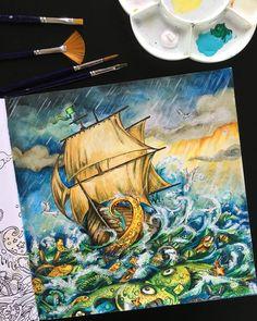 "1,115 Likes, 61 Comments - Irena Herman (@black_aneri) on Instagram: ""Sun and storm? Sure! ⛅ Book: #imagimorphia by #kerbyrosanes Pencils: #kohinoorhardtmuth…"""