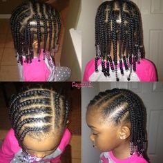 Box braids, cornrows, beads, natural hairstyles for kids