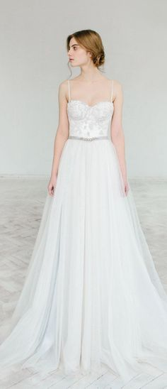 vory and gray wedding dress // Ivy