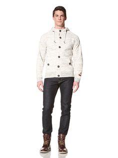55% OFF Under 2 Flags Men\'s Slub Knit Hooded Sweater (Natural Melange)