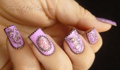 Weekly Mani: Pretty Lilac Vintage Design   Ten Little Canvases