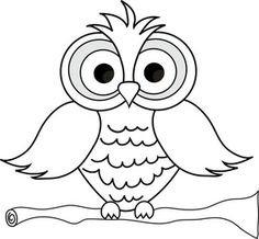 Wise Owl With Big Eyes On A Tree Limb In Black And White Smu clip art