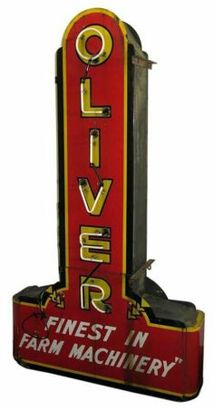 Neon Oliver Farm Implements Sign