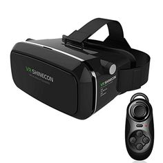 awesome LUCINE 9764554 3D VR Virtual Reality Glasses Headset Suitable for Google, iPhone, Samsung Note, LG, Huawei, HTC Smartphone for 3D Movies and Games with Remote Controller - Black