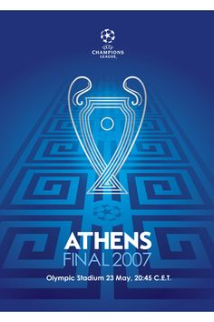 Champions League Finale 2007 in Athen. Soccer Art, Soccer Poster, Uefa Champions League, Uefa Super Cup, Football Ticket, Fifa Football, Football Images, Fc Liverpool, Ac Milan