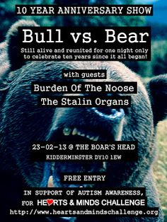Former heavy metal guitarist Jamie Edwards-Taylor is reforming Bull Vs. Bear for a one-off gig in Kidderminster in aid of Hearts and Minds a. 10 Year Anniversary, Children With Autism, Heart And Mind, Autism Awareness, Metal Bands, First Night, Fundraising, Hearts, Mindfulness