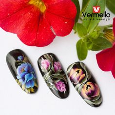 One Stroke nail art with Vermello Nails gels