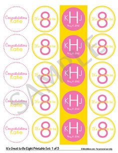 Eight-year-old birthday party or baptism ideas...Cupcake toppers, water bottle labels.