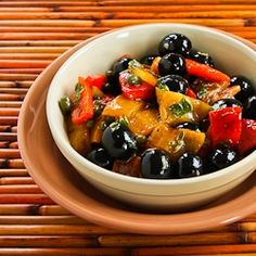 Recipe for Tapas Salad with Grilled Bell Peppers, Olives, and Capers from Kalyn's Kitchen