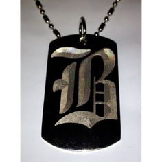 Letter B OLD English Font Initial - Military Dog Tag, Luggage Tag Key Chain Metal Chain Necklace >>> To view further for this item, visit the image link. (This is an affiliate link) #IDTags