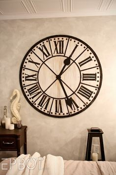 Giant Wall Clock - Wall clocks come and a large selection of sizes and shapes. A large wall clock can have a dramatic effec Extra Large Wall Clock, Giant Wall Clock, Wall Clock Hands, Clock Decor, Diy Wall Decor, Home Decor, Decor Crafts, Diy Wanddekorationen, Do It Yourself Decoration