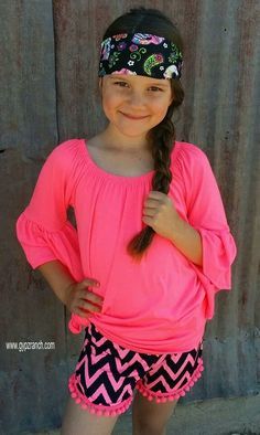 Kids - Maddy's Production NEON Pink Chevron Shorts www.gypzranch.com
