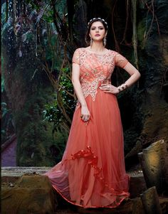 Zarine Khan Orange Net Bollywood Suit 70203