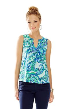 Marlow Sleeveless Top - Poolside Blue Keep it Current - Size XL