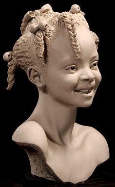 """Tatoune""<3 Sculpture by Philippe Faraut<3 14"" Earthenware Clay ©2009"