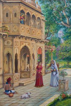 Krishna Painting - Purnamasi In House Of Kirtida by Vrindavan Das Krishna Painting, Krishna Art, Krishna Drawing, Indian Art Paintings, Contemporary Paintings, Abstract Paintings, Oil Paintings, Landscape Paintings, India Painting