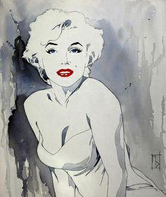 "Saatchi Online Artist Michelle Delecki; Painting, ""Marilyn in a White Dress"" #art"