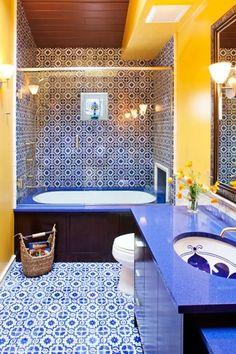 blue yellow bathroom - Yellow Bathroom Ideas