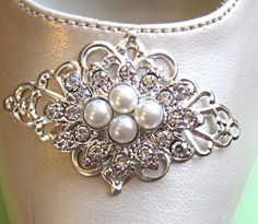 Wedding Shoe Clips, Pearl shoe clips, Fancy Shoe clips, Bridesmaids, Gift for her, Romantic, Pearl Accessories. $27.50, via Etsy.