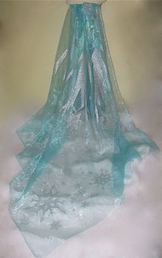Elsa Cape fabric 96 long x 80 wide Frozen silver glitter snowflake light blue shiny sheer organza fabric panel piece for making capes