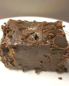 Mrs. Field's SUPER FUDGE Brownies! The blogger says they actually look like fudge (as you can see), have a texture like chocolatey flour-less cake, and literally melt in your mouth :).