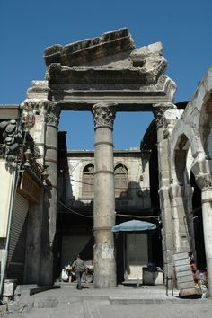 Damascus -- Monumental remains of the Roman temple of Hadad -Zeus -Jupiter next to the Great Umayyad Mosque.